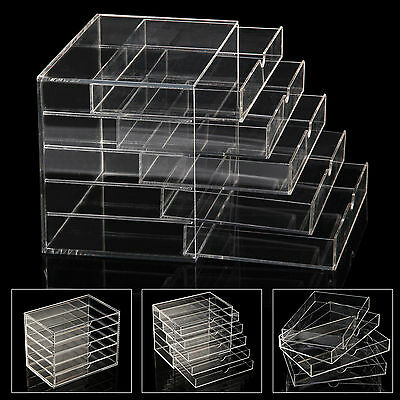 Large 5 Drawers Clear Acrylic Cosmetic Organizer Makeup Jewelry Box Storage Case