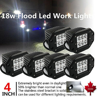 6X 4inch 18W Pods CREE LED Work Light Bar Flood Flush Mount Offroad Truck Jeep