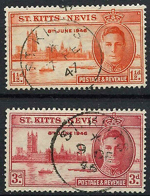St Kitts Nevis 1946 SG#78-9 KGVI Victory Used Set #D24146