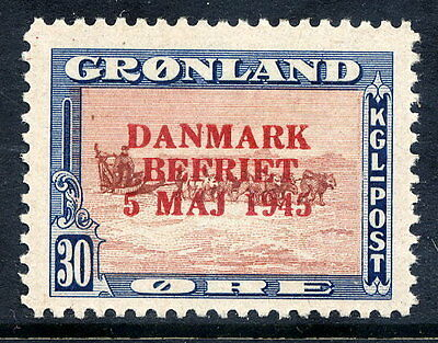 GREENLAND 1945 Liberation overprint in red on 30 Øre  LHM / *