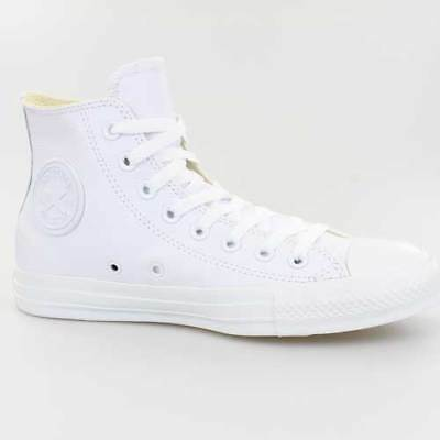 Converse All Star Chucks Hi Mono Chrome Weiss Leder 136822C White Leather Schuhe