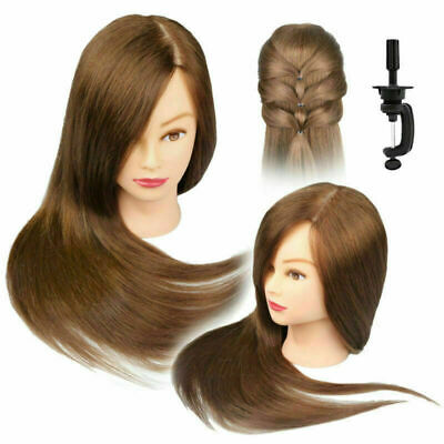 100% Real Human Hair Salon Hairdressing Training head Mannequin Doll & Clamp
