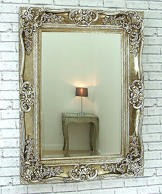 """Amore Ornate Shabby Chic Vintage Large Wall Mirror Champagne Silver 47"""" x 35"""""""