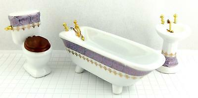 Dolls House Bathroom Suite Miniature Porcelain  Furniture Set Blue Gold Design