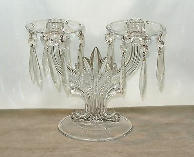 FOSTORIA Glass BAROQUE Double Candlestick with Bobeches and Prisms