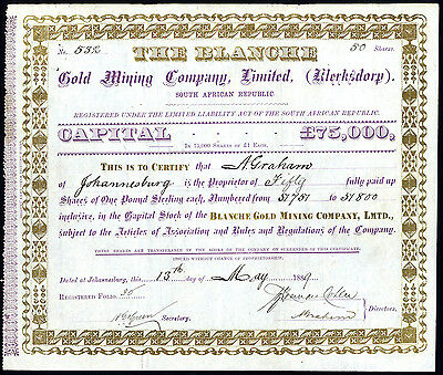 South Africa; Blanche Gold Mining Co. Ltd., Klerksdorp, £1 shares, 1889