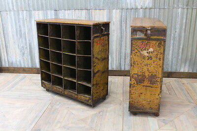 Industrial Pigeon Holes Vintage Storage Unit With Timber Top And Aged Paintwork
