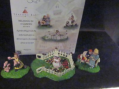 Dept 56 Season's Bay RELAXING IN A GARDEN 3PC #53307 mib