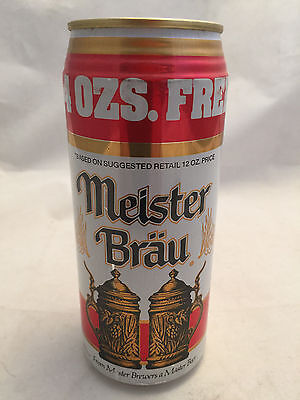 Aluminum Meister Brau Bottom Opened Beer Can 4oz Free 16oz for the Price of 12oz
