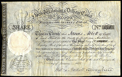North Walsham & Dilham Canal, £50 share no.148, 1825, on vellum