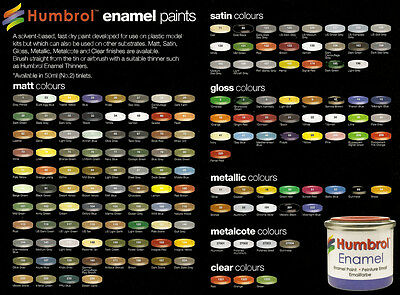 HUMBROL (14ml TIN) MATT #245-253, GLOSS & METALLIC #2-238 (PART III)