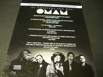 OF MONSTERS AND MEN For Your Grammy Consideration 2015 PROMO POSTER AD mint cond