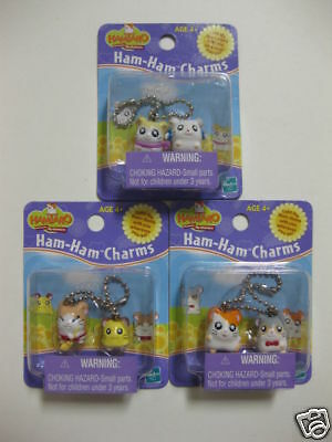 L@@K **Lot of 3** Set of Hamtaro Charms FACTORY SEALED