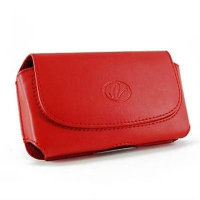 Red Leather Wider Pouch For Motorola DROID RAZR MAXX HD Fits With OtterBox Case