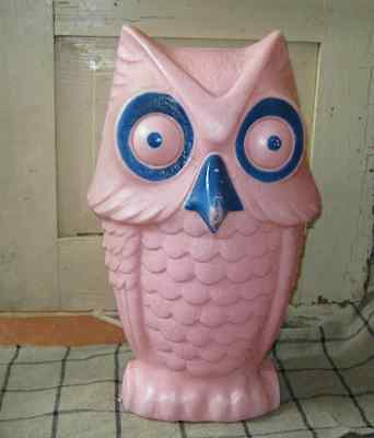 "Vintage 1960s PLASTIC BLOW MOLD OWL BANK Large 13"" high Cute and Scarce-to-Rare"