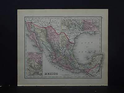 Antique Map,1886, O.W. Gray, S1#02 Mexico