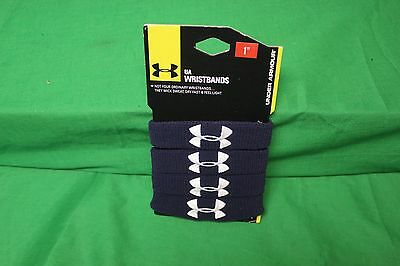 """Under Armour Wristbands 1"""" Performance Navy Blue Pack of 4 NWT New"""