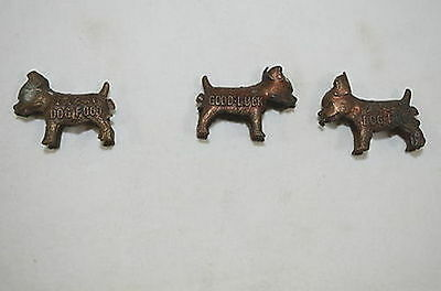 1950s Metal Miniature Ideal Dog Food Good Luck Advertising Charm Set of 3 1252-3
