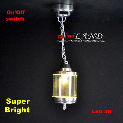 birdcage hanging LED LAMP Dollhouse miniature light battery on/off 1:12 SILVER