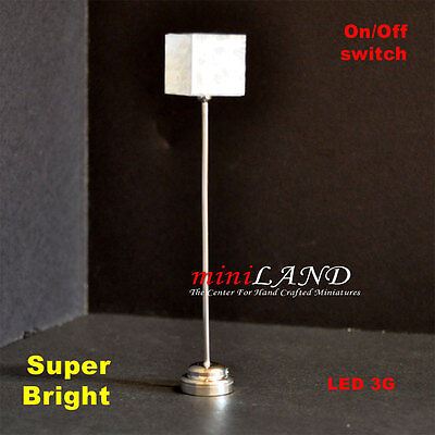 "Modern Floor Bright battery SILVER LED LAMP Dollhouse miniature light 5"" tall"