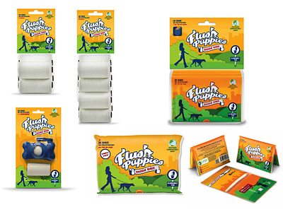 FLUSH PUPPIES Doodie Bags - Flushable Compostable - Dog Poop Waste Pick Up