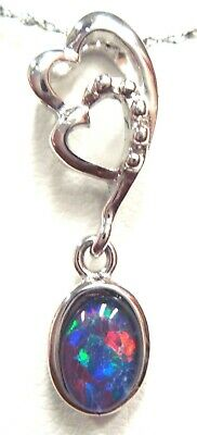 Australian Natural Black Triplet Opal Pendant Solid Silver Set 6.39cts 24x7x6mm