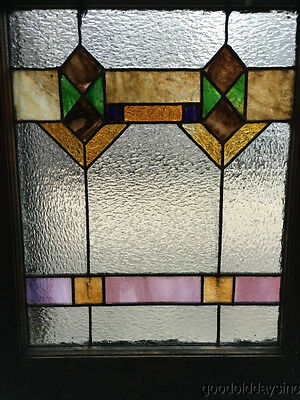 "Antique 1920s Chicago Bungalow Stained Leaded Glass Window 24 3/4"" by 20"""