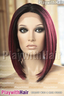 Long Straight Bob Lace Front Wig Heat Safe Ombre Red Black Burgundy