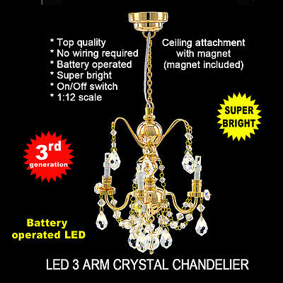 crystal chandelier 3 arms LED LAMP Dollhouse miniature light battery  on/off NEW