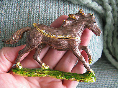 New Jeweled Ornate Miniature Horse Stallion Jewelry Trinket Box W/bling!
