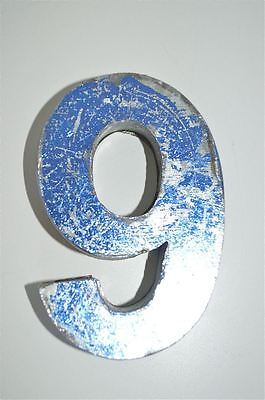 Fantastic Vintage Style Blue 3D Metal Shop Sign Number 9 Advertising Font