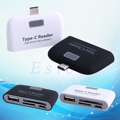 USB 3.1 Type C 3in1 USB-C TF OTG Micro SD Card Reader For Macbook Phone Tablet