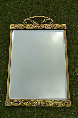 Original Arts and Crafts brass framed wall mirror stylized flowers and vines