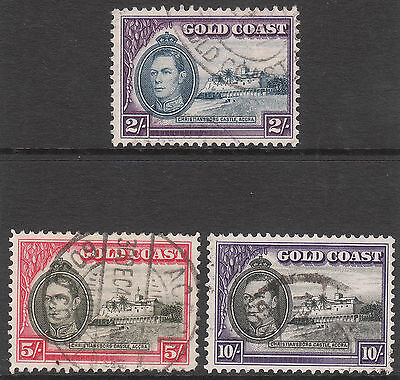 GOLD COAST 1938 #130 #131a #132 USED GV1 STAMPS