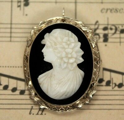 Antique Early 20c 14K White & Yellow Gold Black & White Cameo Brooch