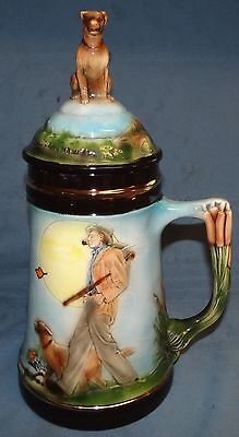 Vtg Norman Rockwell A Walk In The Country Stein Hunting Dog Lid Lab Retriever