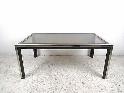 Mid Century Modern Chrome And Smoked Glass Coffee Table (8412)NJ