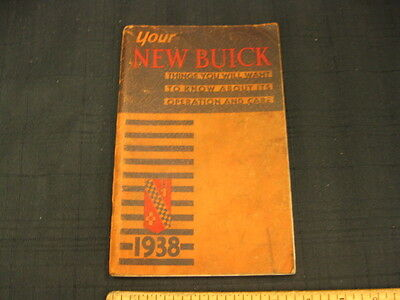 1938 BUICK Car Owners Glove Box Instruction Manual