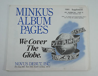 New Minkus Stamp Album Pages 1991 Supplement Part 2 All American US Stationary