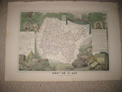 Masterpiece Antique 1852 Ain Bourg France Levasseur Handcolor Map Wine Food Art