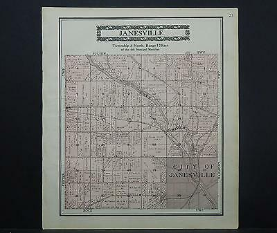Wisconsin, Rock County Map, 1917 Township of Janesville L22#86