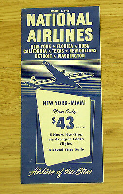 National Airlines timetable March 1, 1952