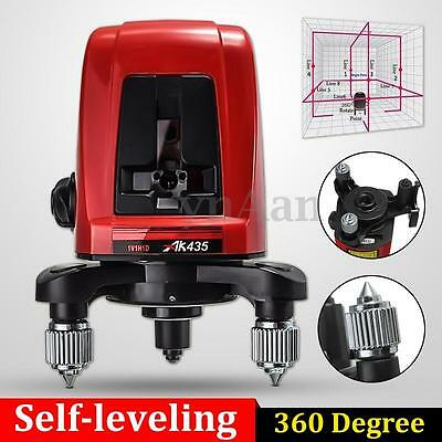AK435 360 Degree Self-leveling Cross Laser Level 2 Line 1 Point + Pouch+Package