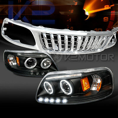 99-03 F150 Black Halo LED Projector Headlights+Chrome Vertical Grille