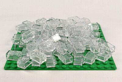 100 Pieces Lego Brick 1x2 Translucent Clear Lot Brand New