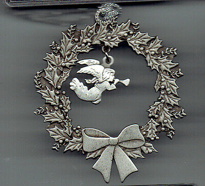 6 PEWTER ANGEL ORNAMENTS made in canada Christmas wreath