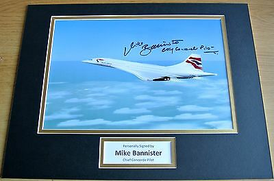 Mike Bannister SIGNED autograph 16x12 photo display Chief Concorde Pilot & COA