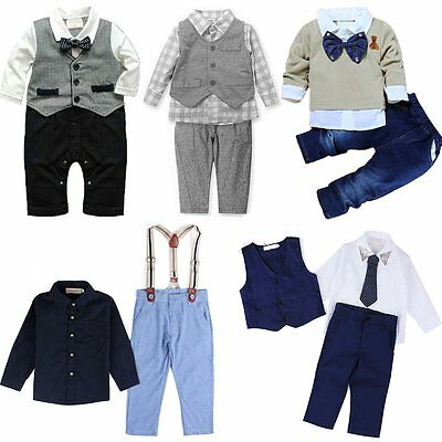 Newborn Toddler Baby Boy Waistcoat Shirt Shirt Overalls Pants Outfit Clothes