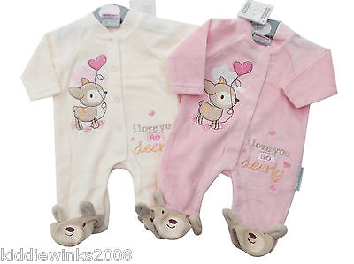 BNWT Tiny Baby girl Premature Preemie Baby Little Deer velour sleepsuit Clothes