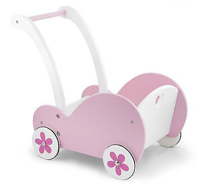 Deluxe Childrens/Girls Pink Wooden Dolls Pram Buggy Pushchair Wood Toy
